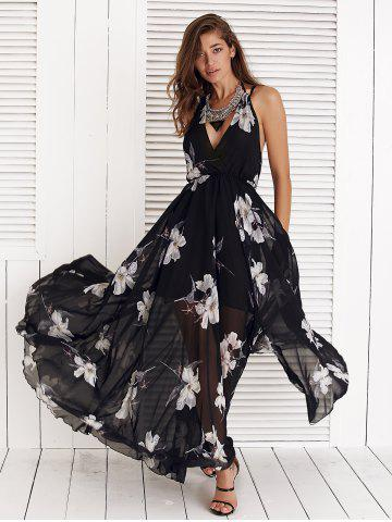 Online Floral Print Spaghetti Strap High Slit Chiffon Dress