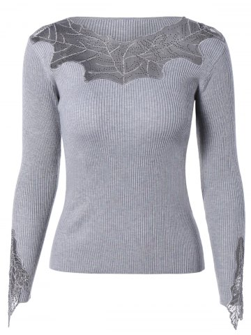 Online Stylish See-Through Beaded Ribbed Knitwear For Women