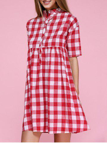 Store Stand Collar Plaid Smock Dress