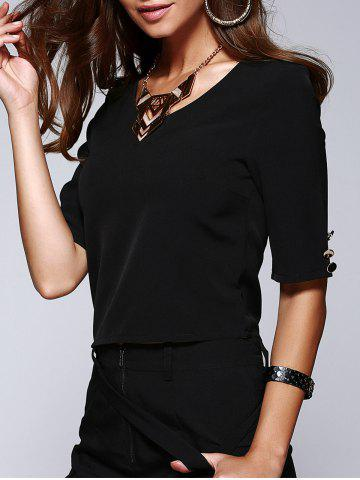 Affordable V-Neck Half Sleeve Buttoned Drop Belt Design T-Shirt