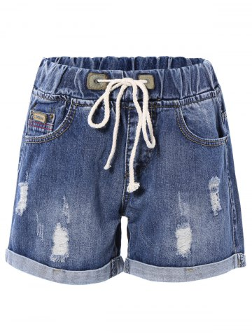 Fancy Drawstring Denim Rolled Up Shorts