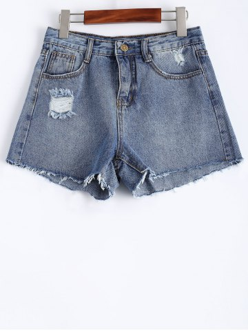 Shop Raw Edge Denim Shorts
