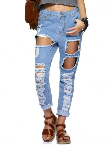 Trendy Stylish Women's Bleach Wash Ripped Jeans
