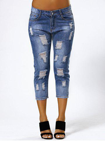 Fashion Ripped Capri Jeans