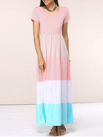 Outfits Chic Scoop Neck Color Block Spliced Women's Dress