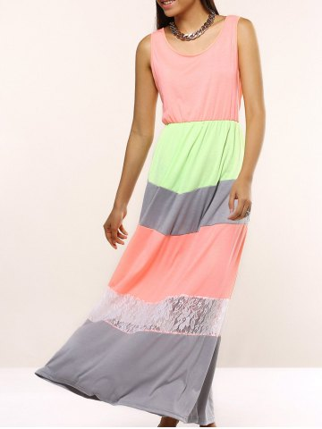 Shops Charming Sleeveless Lace Spliced Hit Color Women's Dress