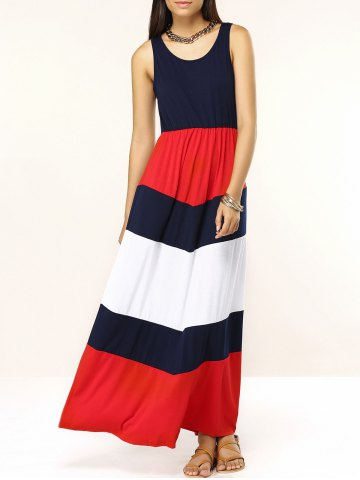 Fashion Trendy Sleeveless Spliced Color Block Women's Dress