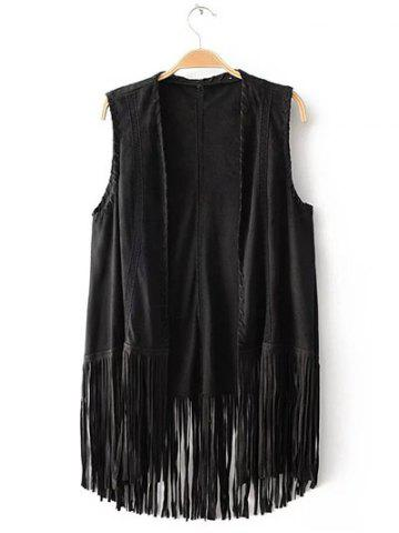 Store Charming Collarless Fringed Solid Color Women's Waistcoat