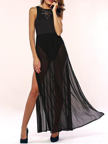 Store Cut Out High Slit Sheer Maxi Prom Dress