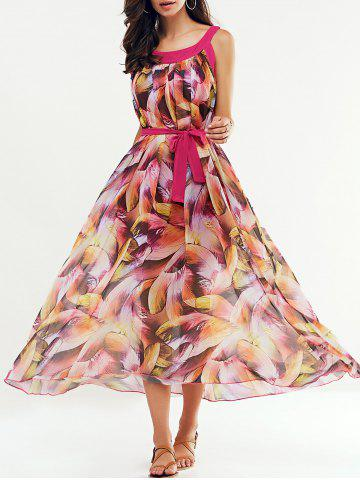 Sale Scoop Neck Feather Print Belted Dress ROSE RED L