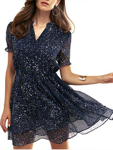Store V-Neck Polka Dot Drawstring Dress