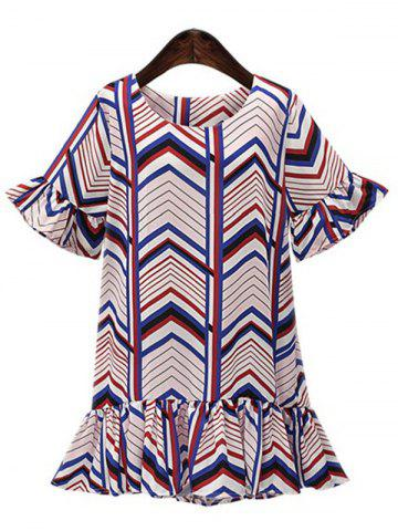 Chic Sweet Women's Cuff Ruffle Zig Zag Fishtail Chiffon Dress