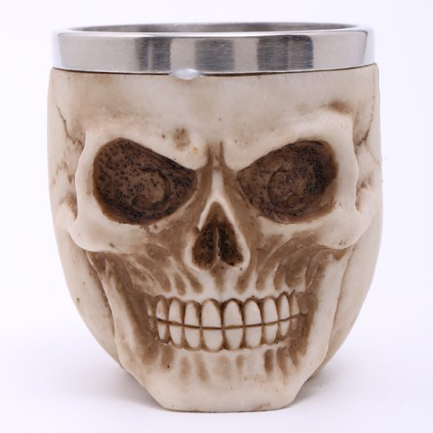 Fashion High Quality Carving 3D Skull Stainless Steel Vodka Liquor Cup