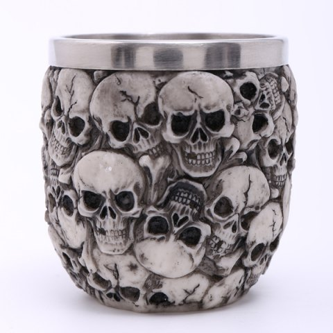 Cheap High Quality Carving 3D Skulls Stainless Steel Vodka Wine Cup