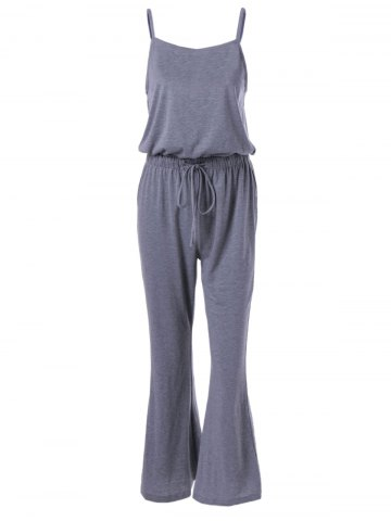 Affordable Casual Spaghetti Strap Drawstring Solid Color Jumpsuit For Women