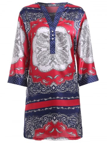 Discount Ethnic Style Print V-Neck Shirt Dress For Women COLORMIX L