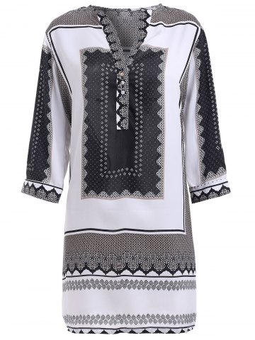 New Bohemian Printed V-Neck Shirt Dress For Women