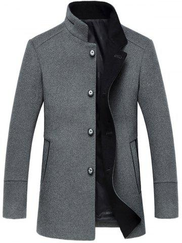 Shop Elegant Stand Collar Single Breasted Slim Fit Wool Overcoat For Men GRAY 3XL