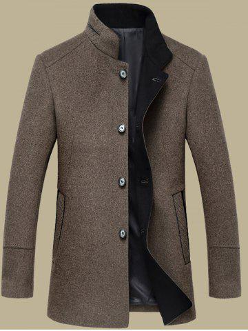 Cheap Elegant Stand Collar Single Breasted Slim Fit Wool Overcoat For Men - M DARK COFFEE Mobile