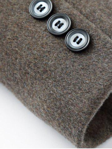 Outfit Elegant Stand Collar Single Breasted Slim Fit Wool Overcoat For Men - M DARK COFFEE Mobile