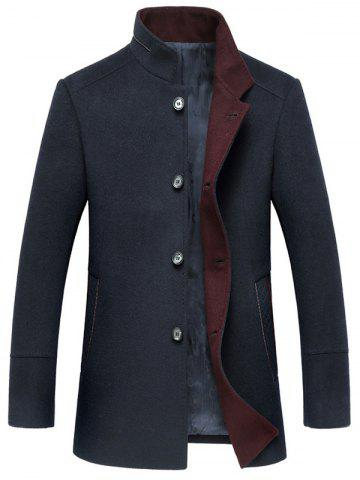 Chic Elegant Stand Collar Single Breasted Slim Fit Wool Overcoat For Men CADETBLUE 2XL