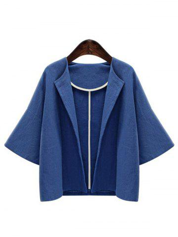 Chic Bell Sleeve Open Front Jacket BLUE XL