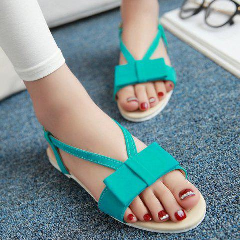 Online Leisure Bow and Flat Heel Design Sandals For Women LAKE GREEN 38