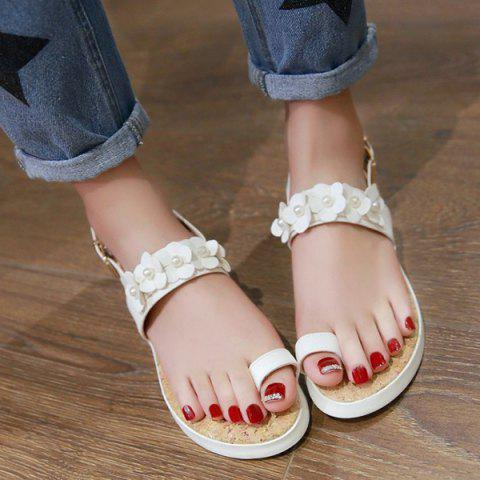 Chic Ladylike Flower and Faux Pearls Design Sandals For Women WHITE 37