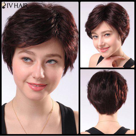 New Refreshing Women's Short Fluffy Side Parting Siv Human Hair Wig