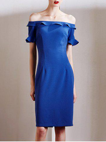 Fancy Stylish Off The Shoulder Sapphire Blue Ruffles Women's Dress