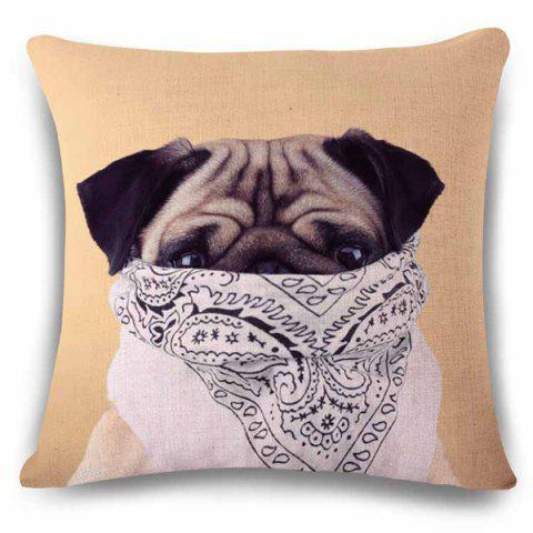 Unique Sweet Flax Square Animal Puppy with Scarf Pattern Pillow Case