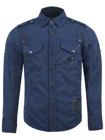 Hot Cotton Blends Embroidered Pockets Turn-Down Collar Shirt