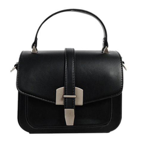Fancy Fashionable Covered Closure and Metal Design Crossbody Bag For Women BLACK