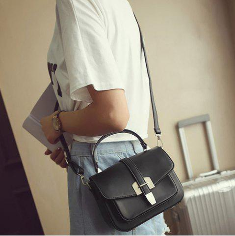 Trendy Fashionable Covered Closure and Metal Design Crossbody Bag For Women - BLACK  Mobile