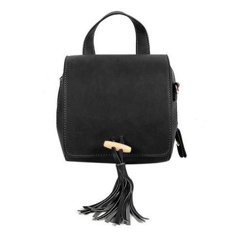 Trendy Retro Magnetic Closure and Tassels Design Crossbody Bag For Women