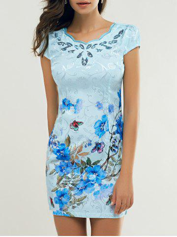 Affordable Cheong-Sam Wave Cut Foral Dress