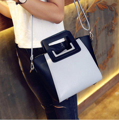 Sale Fashion Snap Button and Color Block Design Tote Bag For Women - GRAY  Mobile