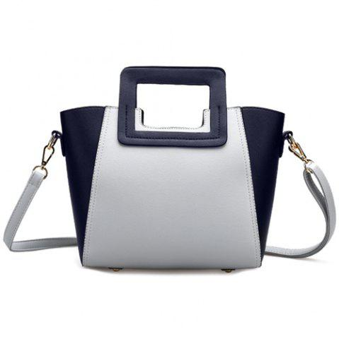 Buy Fashion Snap Button and Color Block Design Tote Bag For Women GRAY
