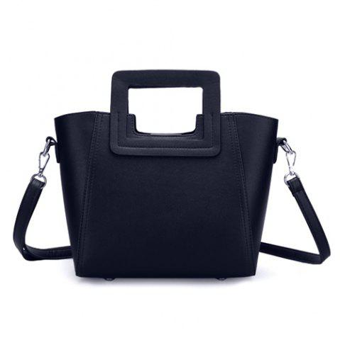 Chic Fashion Snap Button and Color Block Design Tote Bag For Women - BLACK  Mobile