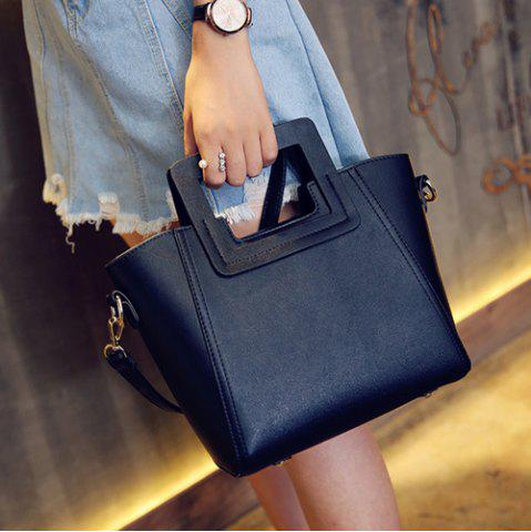 Outfits Fashion Snap Button and Color Block Design Tote Bag For Women - BLACK  Mobile