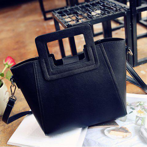 Trendy Fashion Snap Button and Color Block Design Tote Bag For Women - BLACK  Mobile