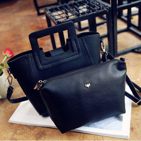 New Fashion Snap Button and Color Block Design Tote Bag For Women - BLACK  Mobile