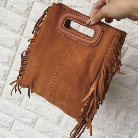 Vintage Suede and Fringe Design Crossbody Bag For Women - BROWN
