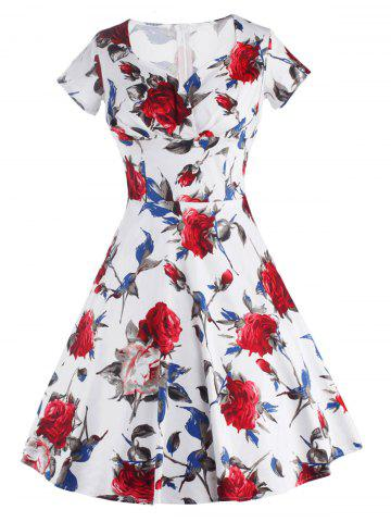 Chic Knee Length Floral Flare Pin Up Dress RED S