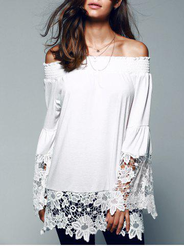 Shops Off The Shoulder Lace Splicing Blouse WHITE XL
