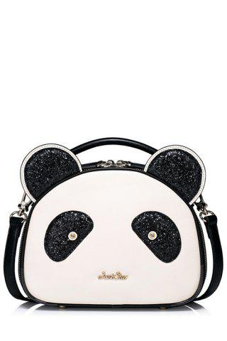 Panda Shape Sequined Tote Bag - White And Black