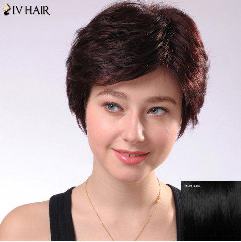 Store Refreshing Women's Short Fluffy Side Parting Siv Human Hair Wig