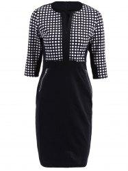 OL Style V-Neck Checked Print 3/4 Sleeve Pencil Dress For Women