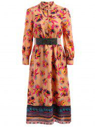 Bohemian Stand-Up Collar Long Sleeve Printed Belted Dress For Women -