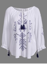 Stylish Round Neck 3/4 Sleeve Embroidered Lace-Up Blouse For Women -